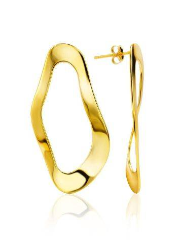 Abstract Design Gold Plated Silver Earrings The Liquid, image