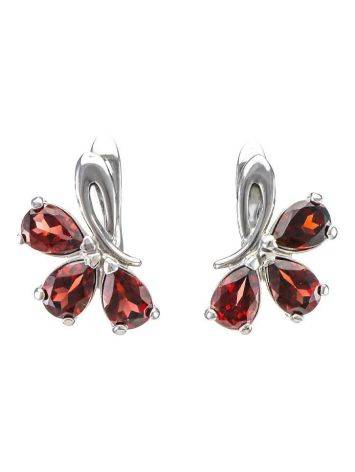 Chic Silver Earrings With Garnet The Flora, image