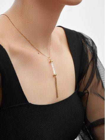 Gold Plated Silver Bar Pendant With Chain Tassel The Ice, image , picture 3