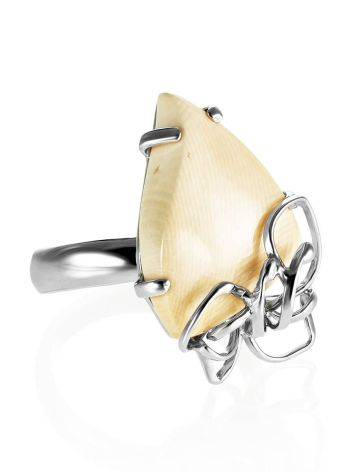 Handcrafted Silver Adjustable Ring With Mammoth Tusk The Era, Ring Size: Adjustable, image