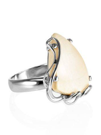 Handcrafted Silver Ring With Mammoth Tusk The Era, Ring Size: Adjustable, image