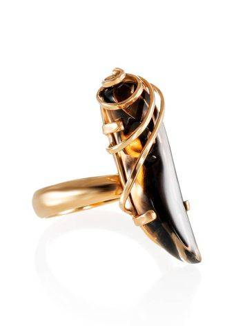 Smoky Quartz Gold Plated Silver Ring The Serenade, Ring Size: Adjustable, image