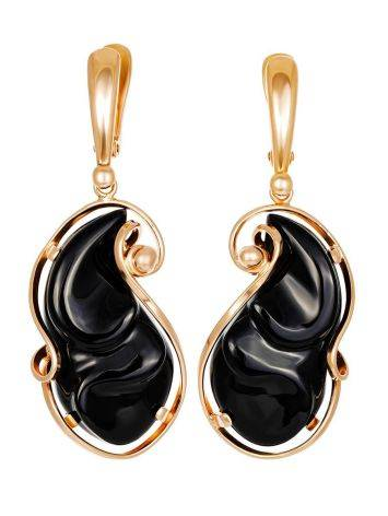 Gold Plated Silver Dangles With Onyx The Serenade, image