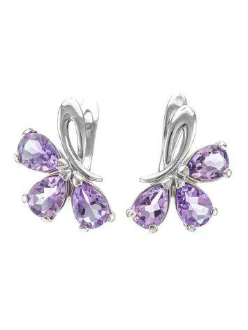 Silver Earrings With Amethyst The Flora, image
