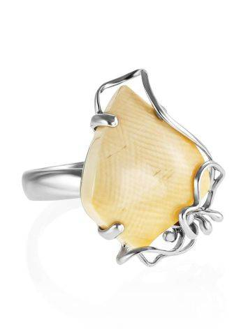 Unique Adjustable Silver Ring With Mammoth Tusk The Era, Ring Size: Adjustable, image