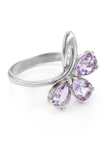 Bright Amethyst Silver Ring The Flora, Ring Size: 5.5 / 16, image