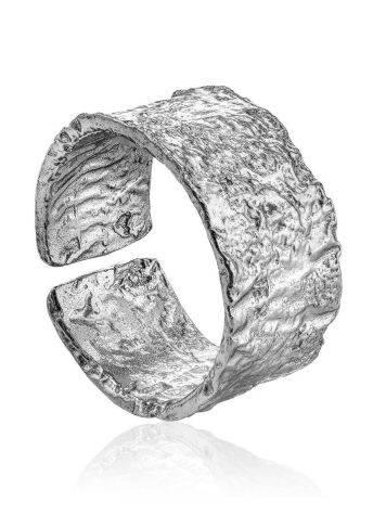 Antiqued Finish Stylish Silver Ring The Liquid, Ring Size: Adjustable, image
