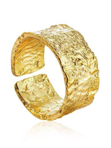 Trendy Textured Gold Plated Silver Ring The Liquid, Ring Size: Adjustable, image