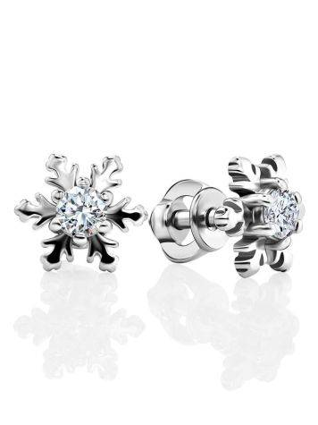 Silver Snowflake Stud Earrings With Crystals The Aurora, image